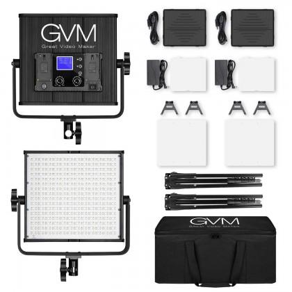GVM 50RS RGB LED Video Light 2 Panel Kit Full Color CRI TLCI 95+ Bi Color 3200K~5600K Adjustable for Studio Photography with Barn-Door & Bag