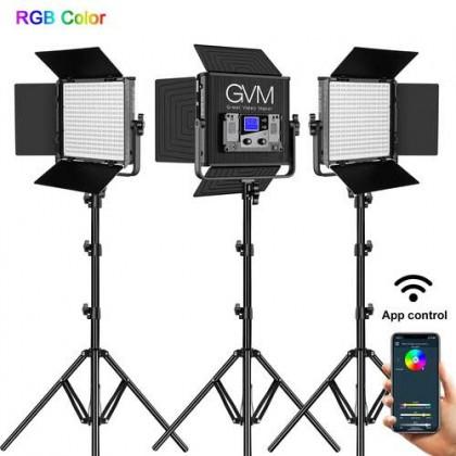 GVM 50RS RGB LED Video Light 3 Panel Kit Full Color CRI TLCI 95+ Bi Color 3200K~5600K Adjustable for Studio Photography with Barn-Door & Bag