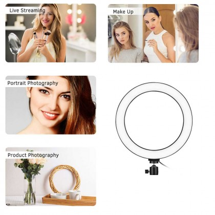 Beike QZSD 10in Ring Light with Ballhead 103 beads 13W For YouTube Video Photo Studio Live Stream Portrait Makeup Photography