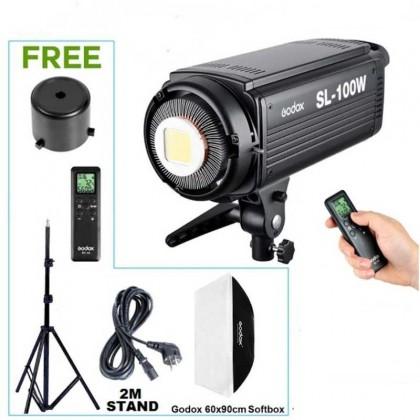 GODOX SL100W LED VIDEO LIGHT FREE SOFTBOX & STAND CRI 95 (BOWENS MOUNT)