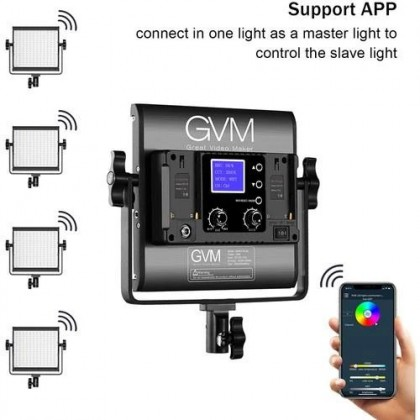 GVM 800D-RGB LED STUDIO VIDEO LIGHT 2 PANEL KIT WITH WITH MOBILE APP CONTROL