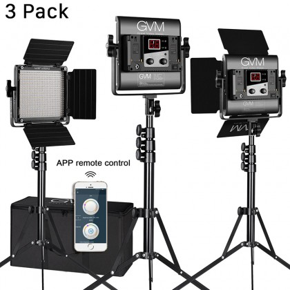 GVM 560AS3L BI-COLOR 2300-6800K LED 3 LIGHT KIT CRI97 FULL ALUMINUM BODY