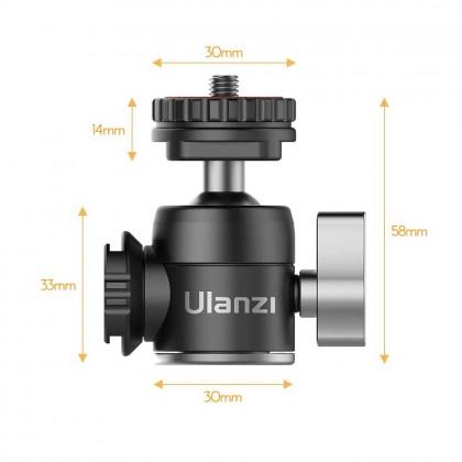 Ulanzi U-60 Metal Mini Ballhead Dual Cold Shoes Microphone 360 Degrees Ball Head Vlog Video Shooting for Canon Sony DSLR Camera