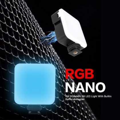 DigitalFoto RGB NANO (6W RGB Mini 68 LED Video Light) With Builtin Battery&Magnet for Photographer Studio Vlogging