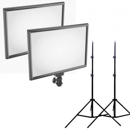 Newell LED650i 2 Light Kit LED Video Soft Light Adjustable Color 3200-5600K with Built In 2x 4000mAh Battery