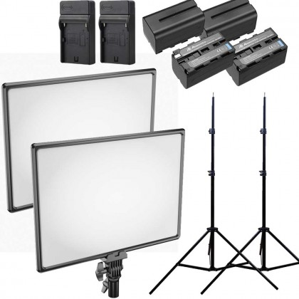 Newell Air 1100 2 Light Kit LED Video Softbox Light Adjustable Color 3200-5600K 40W High Power
