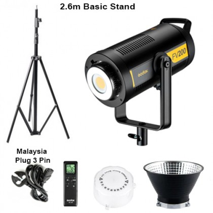 Godox FV200 + 2.6m Basic Light Stand High Speed Sync Flash LED Light with Built-in 2.4G Wireless Receiver + Remote Control