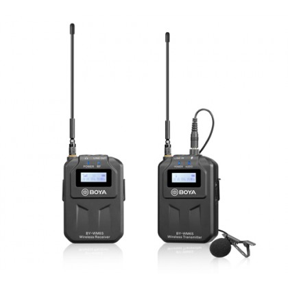 BOYA BY-WM6S UHF wireless microphone system 3.5mm output for smartphone, tablet, DSLR camera, camcorder, audio recorder