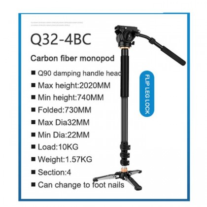 Beike Q32-4BC Camera Video Monopod Kit with Vertical Control Tripod Support carbon fiber monopod with handle head